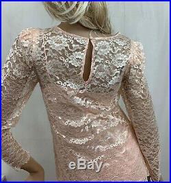 Vintage Helen Joy Lace Slip Dress Top Peach Pink Sheer Jewel Circle Size 11 12