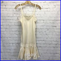 Vintage I Magnin Bias Silk Negligee Slip Dress Lace Trimmed Flared Hem Small NOS