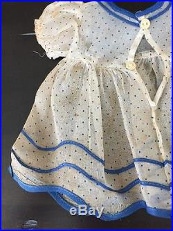 Vintage Ideal Shirley Temple Tagged Dress Blue and White Shear Withslip And Hanger