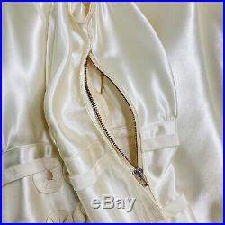 Vintage Ivory Satin Wedding Dress 1930's, Bridal Silky Slip Gown, RARE Size XS