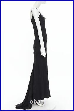 Vintage JOHN GALLIANO 1995 Runway black silk bias cut paneled slip gown dress M