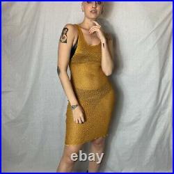 Vintage Jean Paul Gaultier Junior net ochre midi slip dress gold women new tags
