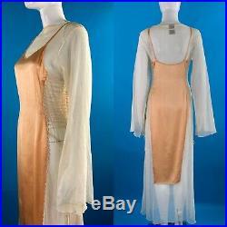 Vintage Jean Paul Gaultier S/S 1994 Trompe loeil Mesh Satin Slip Lace Dress 42