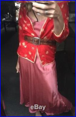 Vintage Jenny Lewis Red Silk Gold Dress Jacket Blouse As New Chinese Slip