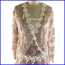 Vintage Jessica McClintock Lace Dress with Slip Blush Long Sleeves Cottagecore