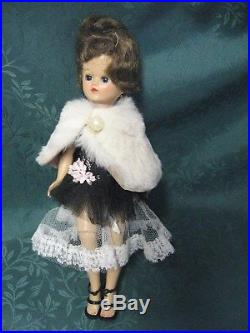 Vintage Jill Doll Vogue 1957 Brunette Jointed Strapless Dress, Slip, High Heels