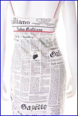 Vintage John Galliano Newspaper Print Slip Dress