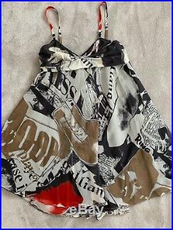 Vintage John Galliano Silk Newspaper Gazette Print Slip Summer Dress Wedding UK8