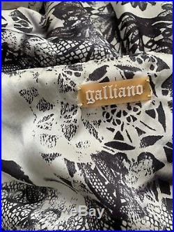 Vintage John Galliano Silk Skull Gothic Tattoo Newspaper Print Slip Dress Y2K