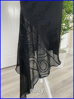Vintage John Richmond Silk Blend Black Slip Midi Dress Size 10-12