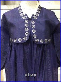 Vintage Korean Dress Hanbok Jacket Under Slip Navy Organdy Authentic SZ 4/6