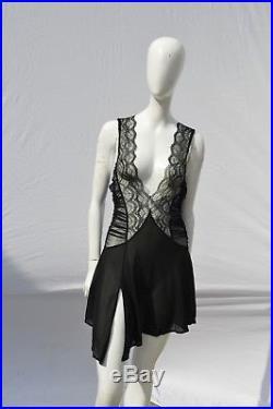 Vintage LA PERLA sheer lace mini slip dress sexy size 4 used party asymmetric