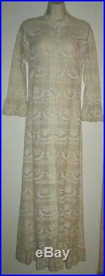 Vintage LILA BATH Designer DRESS M 32 Ivory COTTON CROCHET Maxi with SLIP DRESS
