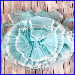 Vintage Lady Love 3t Sheer Blue Dress Nylon Lace Ruffles AND SLIP Layers Party