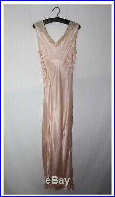 Vintage Late 1920s Early 1930s Silk Satin Slip Dress Nightgown With Lace Details