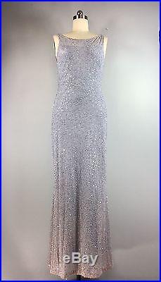 Vintage Lavender Silver Grey Bead Sequins Formal Slip Sheath Gown Dress 38 Bust