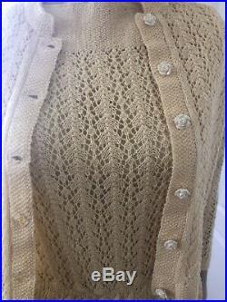 Vintage Lemon Yellow Crochet Dress With Slip & Jacket Size S