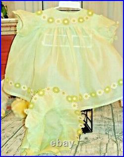 Vintage Light Green Stiff Organdy Dress Bonnet Slip Bloomers for 28 Large Doll