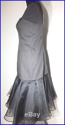 Vintage Lillie Rubin Black and Silver Chiffon Slip Tea Length Dress Sz. 6 USA