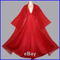 Vintage Lipstick Red Lingerie Chiffon Peignoir Robe Slip Dress Gown Nightgown 2X
