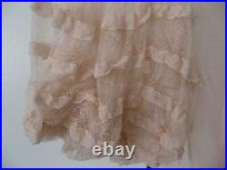 Vintage Maxi Pink Lacy Net Tiered Dress With Bias Slip 20's 30's Xs