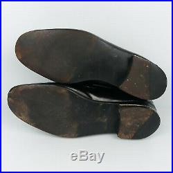 Vintage Mens Black Gucci Shoes Size 9.5 Slip On Loafers 60's Amazing