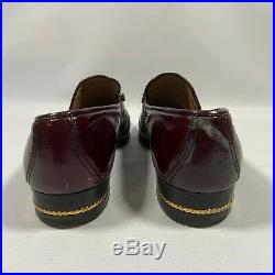 Vintage Mens Gucci Shoes Size 40 1/2 BURGUNDY MAROON Slip On Loafers GOLD CHAIN