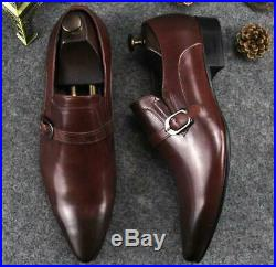 Vintage Mens Leather Pointy Toe Dress Formal Business Wedding Slip On Shoes New