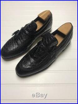 Vintage Mens Nettleton Tassel Loafer 9.5 D Black Alligator Slip On Shoe