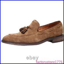 Vintage Mens Suede Leather Round Toe Slip On Tassels Dress Loafer Business Shoes