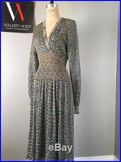 Vintage Missoni Sz XS Blue Metallic Knit Dress with Blue 1/2 Slip