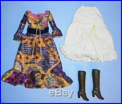 Vintage/Mod Barbie Peasant Dressy dress, slip & brown boots