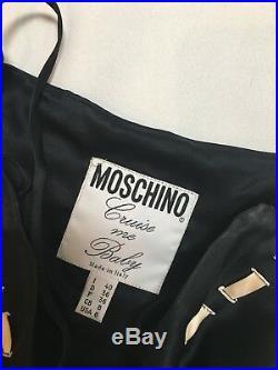 Vintage Moschino Cruise Me Baby Navy White Nautical Silk Slip Maxi Dress 6 S