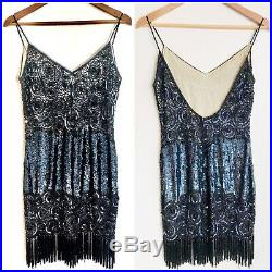Vintage NAEEM KHAN Riazee Silk Beaded Fringe Backless Art Deco Slip Dress Sz 10