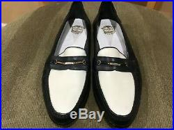 Vintage NOS Florsheim Navy Blue White Mens Spat Slip On 9.5D Italy Unworn
