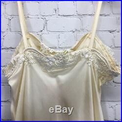 Vintage NOS I Magnin Bias Silk Negligee Slip Dress Lace Trimmed Flared Hem XS S