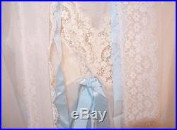 Vintage Nightgown Slip Dress Bed Jacket Blue Silk Ribbon Lace Trim Vanity Fair