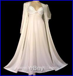 Vintage OLGA Lingerie Slip Dress Gown Nightgown & Lace Trim Peignoir Robe Set ML