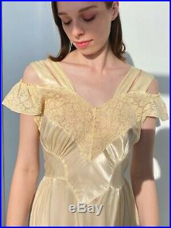 Vintage Original 1930s Cream Silk Satin Slip Dress, Rare Vintage, Size XS/S