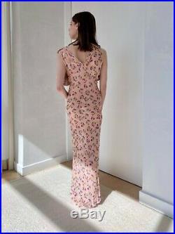 Vintage Original 1930s Pink Floral Slip Dress w Ruffled Capelet, Rare, Size S/M