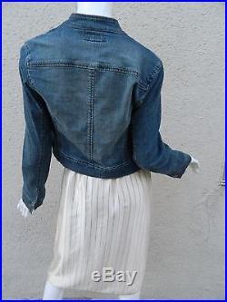 Vintage Oscar De La Renta Dress Slip Dress White Cream & Blue Pinstripes Rare