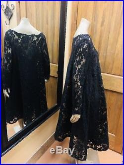 Vintage Oscar De La Rents Black Long Sleeve Lace Dress With Slip Sz 14