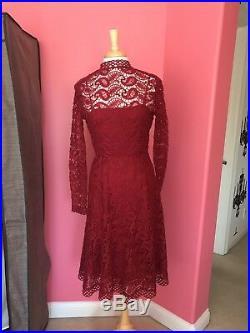 Vintage Pat Sandler 1960s Crochet Deep Red Dress With Built-in Slip