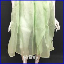 Vintage Petticoat Slip Dress Green Sheer Short Sleeve Small / Medium