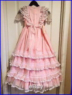Vintage Pink Sheer Ruffled Twirly Party Maxi Dress & Slip