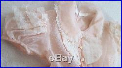 Vintage Pink Swiss Dot Sheer Lace Ruffle Party Dress with Slip & Detachable Bib