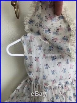 Vintage Plisse Sheer Baby Toddler Dress Floral Buggies Bloomers Slip 3 Piece Set