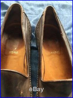 Vintage Polo Ralph Lauren Men's Brown Leather Wing Tip Slip On Shoes 8 1/2 D