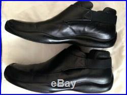 Vintage Prada Men's Slip on Black Leather Loafers size 10Men's Genuine Red Label
