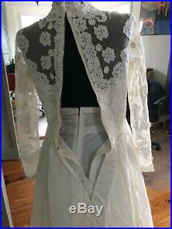 Vintage Priscilla of Boston Wedding Dress Lace + Sydney Bush Petticoat Slip XS
